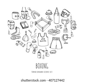 Hand drawn doodle boxing icons set Vector illustration Sketchy sport related icons boxing elements, boxing uniform, gloves, shoes, helmet, boxing ring, belt, trophy Carton boxing equipment