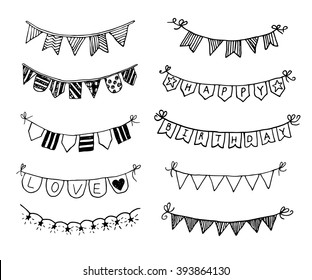 Hand drawn doodle bunting flags set. Doodle birthday barty design elements