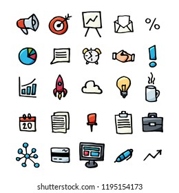 hand drawn doodle business icons set. Management business vector sketchy style symbols for finance, strategy, marketing, seo, logistic, banking, Motivation,  Productivity