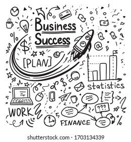 Hand drawn doodle business success   icons. Vector illustration.