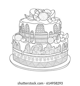 Hand Drawn Doodle Cake Coloring Book Stock Vector Royalty Free