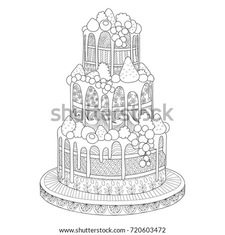 Hand Drawn Doodle Cake Berries Coloring Stock Vector Royalty Free