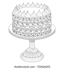 Hand drawn doodle cake for coloring book for adults. Zentangle style