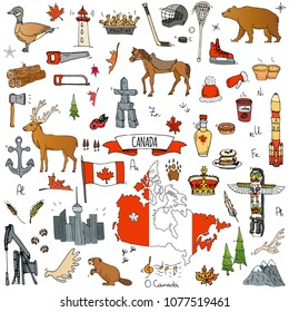Hand drawn doodle Canada icons set Vector illustration isolated symbols collection of canadian symbols Cartoon elements: bear, map, flag, maple, beaver, deer, goose, totem pole, horse, hockey, poutine