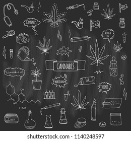 Hand drawn doodle Cannabis icons set Vector illustration sketchy symbols collection Cartoon concept elements Marijuana, Bag, Medical Use, Leaf, Drug, Legalization, CBD chemical formula, pipe, joint