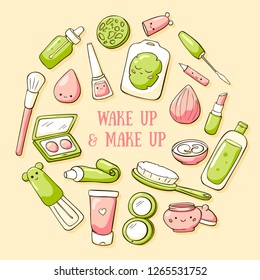 Hand drawn doodle card template with cute make up objects. Vector illustration. Wake up and make up lettering. Doodle teen cosmetics: comb, lipstick, nail Polish, mascara, eye shadow, makeup mirror