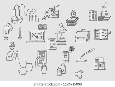 Hand drawn doodle chemistry. Education and science. Knowledge, lesson, laboratory work.