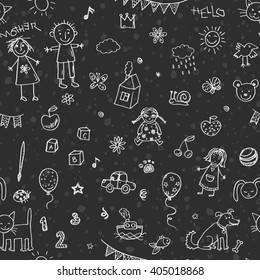 Hand drawn doodle children drawing seamless pattern
