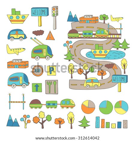 Hand Drawn Doodle City Transport Traffic Stock Vector Royalty Free