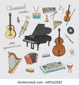 Hand drawn doodle classical musical instruments vector graphic set