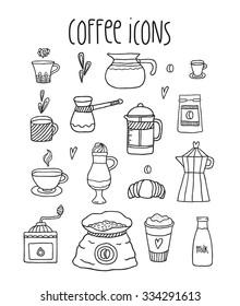 Hand drawn doodle coffee icon set - cup, pot, french press, cappuccino, espresso, milk, coffee grinder etc..