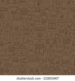 Hand drawn doodle coffee seamless pattern. Vector illustration for fabric, textile, wrapping paper or wallpaper background.