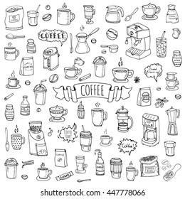 Hand drawn doodle Coffee time icon set Vector illustration isolated drink symbols collection Cartoon various beverage element: mug, cup, espresso, americano, irish, decaf, mocha, coffee making machine