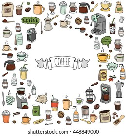 Hand drawn doodle Coffee time icon set. Vector illustration isolated drink symbols collection