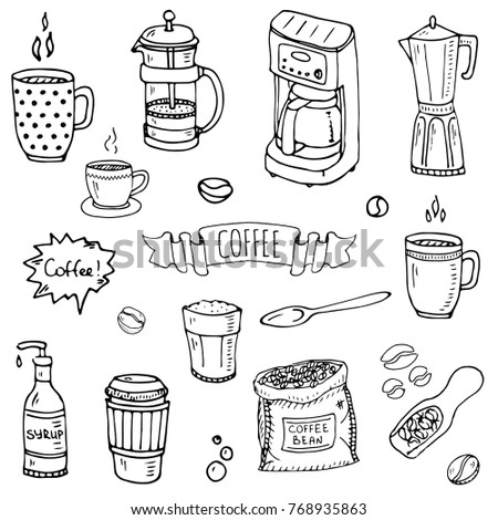 0bbacd83238 Hand drawn doodle Coffee time icon set Vector illustration isolated drink  symbols collection Cartoon various beverage element  mug
