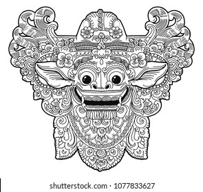 Hand drawn doodle coloring book style Barong balinese demon vector ornate mask isolated on white background