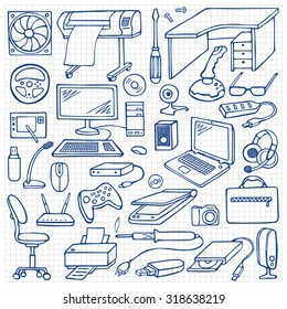 Hand drawn doodle computer set on squared paper. Vector illustration with computer and computer gadgets