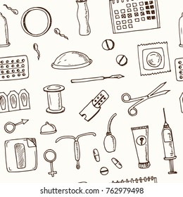 Hand drawn doodle contraceptive seamless pattern Vector illustration. Symbol collection.