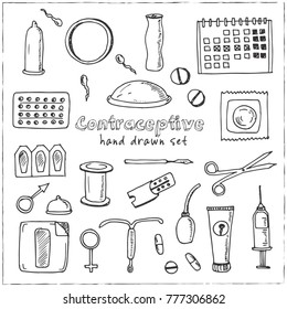 Hand drawn doodle contraceptive set. Vector illustration. Isolated elements on white background. Symbol collection.
