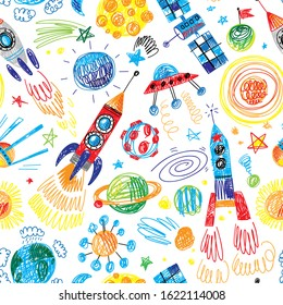 hand drawn doodle cosmos rockets boys seamless pattern