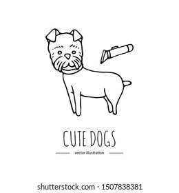 Hand drawn doodle cute dog grooming Vector illustration on white background. Cartoon normal everyday home pets activities symbol. Sketchy puppy icon