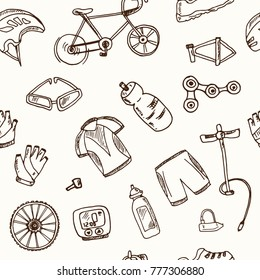Hand drawn doodle cycle racing seamless pattern Vector illustration. Symbol collection.