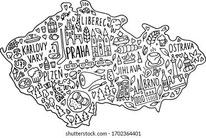 Hand drawn doodle Czech Republic map. Czech city names lettering and cartoon landmarks, tourist attractions cliparts. travel, banner concept design. Praha, Karlovy Vary, zoo, train