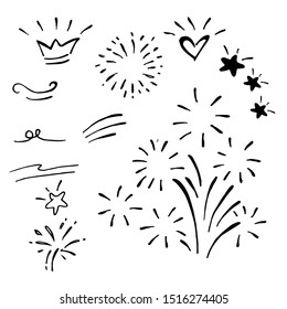 hand drawn of doodle design element. curly swishes, swoops, swirl, arrow, heart, love, crown, star and emphasis element. use for concept design. vector illustration