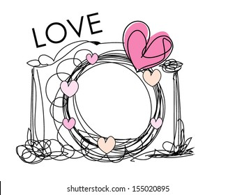 hand drawn doodle digital camera illustration with little love heart