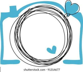 hand drawn doodle digital camera illustration with two love heart