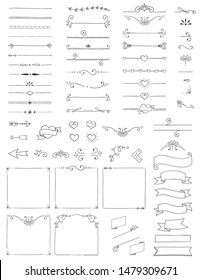 Hand Drawn Doodle Dividers Borders Arrows Swirls Corners and Banners Flat Vector Illustration Design Elements Set Isolated on White