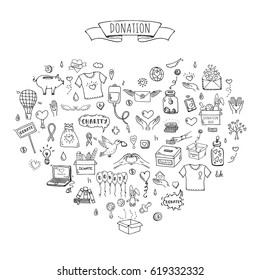 Hand drawn doodle Donation icons set. Vector illustration. Charity symbols collection Cartoon donate sketch elements: blood donation, box, heart, money jar, care, help, gift, giving hand, fund raising