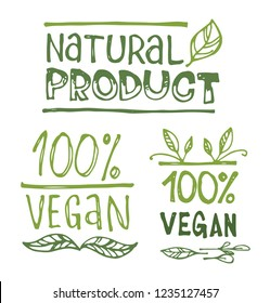 Hand drawn doodle eco green label - bio, vegan, healthy, organic