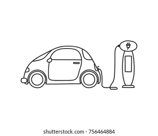 Hand drawn doodle of an electric car at a charging station. Line art only with no fill.