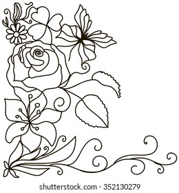 Hand drawn doodle element in vector. Ethnic design. Black and white version.EPS 10