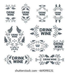 Hand drawn doodle emblems set. Line vector illustration. Card, poster, banner design element. Text message drink wine. Black and white monochrome stamps isolated from white background.