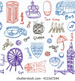 Hand drawn doodle England symbols seamless pattern Travel  Collection. Isolated vector illustration.