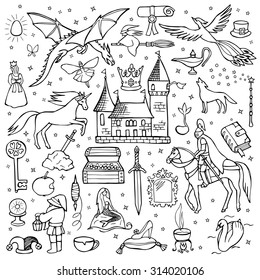 Hand drawn doodle fairy tale set. Vector illustration for textile prints, web and graphic design, covers, posters