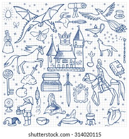 Hand drawn doodle fairy tale set on squared paper. Vector illustration for textile prints, web and graphic design, covers, posters