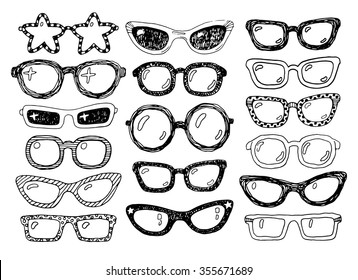 Hand drawn doodle fashion eyeglasses set