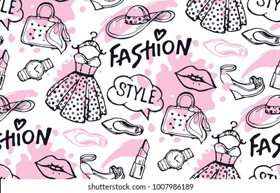 Hand drawn doodle fashion pattern
