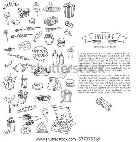 Hand Drawn Doodle Fast Food Icons Stock Vector Royalty Free