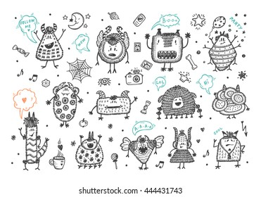 Hand Drawn Doodle Fictional Fabulous Creatures Characters for Kids. Cute Cartoon Monsters or Aliens Vector Set.