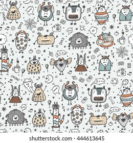 Hand Drawn Doodle Fictional Fabulous Creatures Characters for Kids. Cute Cartoon Colored Monsters or Aliens Vector Seamless pattern. Colorful wallpaper for children