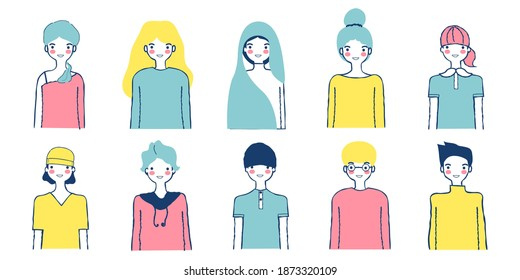 Hand drawn doodle flat vector illustration design set. Smiling cartoon characters collection. Male and female portraits bundle isolated on white. Diverse people avatars. Relaxing color concept