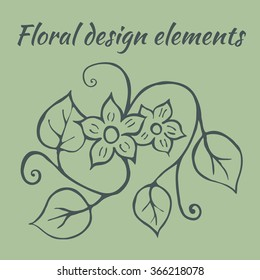Hand drawn doodle floral design element. Handmade floral twig with leaves and embellishments. Isolated vector illustration