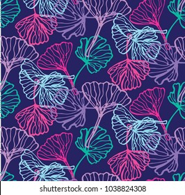 Hand drawn doodle floral pattern. Flowera and leaves
