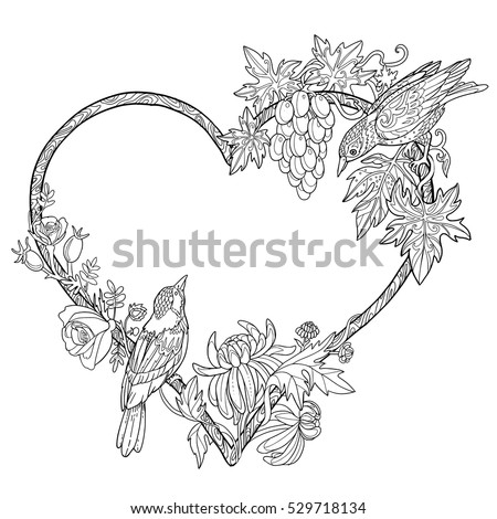 Hand Drawn Doodle Flowers Birds Coloring Stock Vector Royalty Free