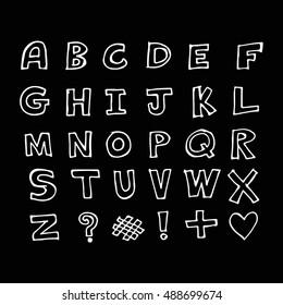 Hand drawn doodle font illustration design