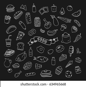 Hand drawn doodle food and cafe icons.